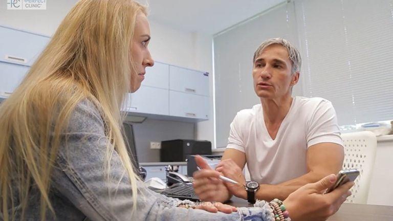 Otevřená metoda operace nosu očima pacientky